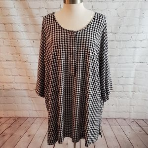 Woman Within Houndstooth Tunic Top